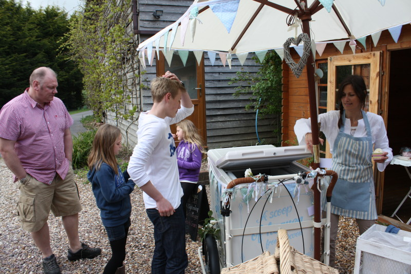 serving party guests ice cream in devon